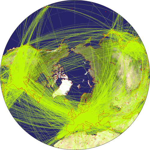 Airline traffic world map, projected to Azimuthal Equidistant Projection.