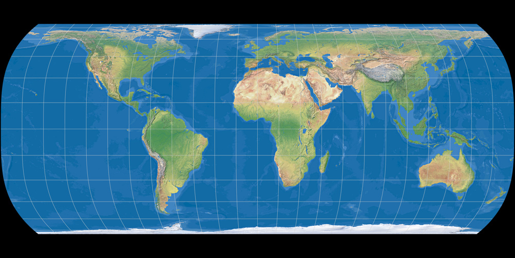 World map using Hufnagel 12 Projection (Ocean with layered depth tints)