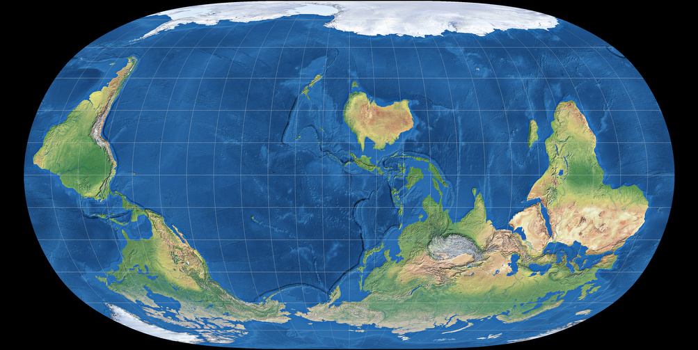 Natural Earth II projection, South-Up, centered to 150° East