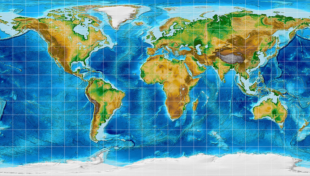 Topographic world map, projected to Patterson Cylindrical Projection.
