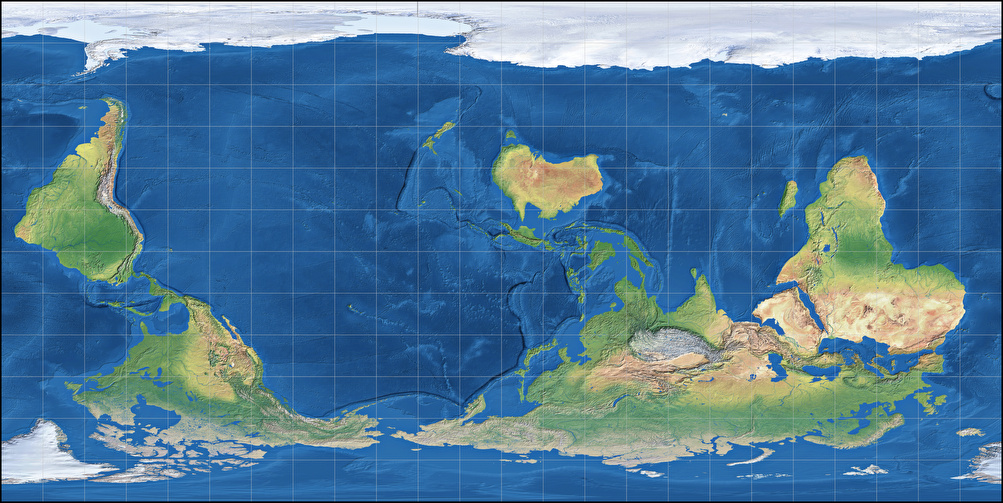 Plate Carrée projection, South-Up, centered to 150° East