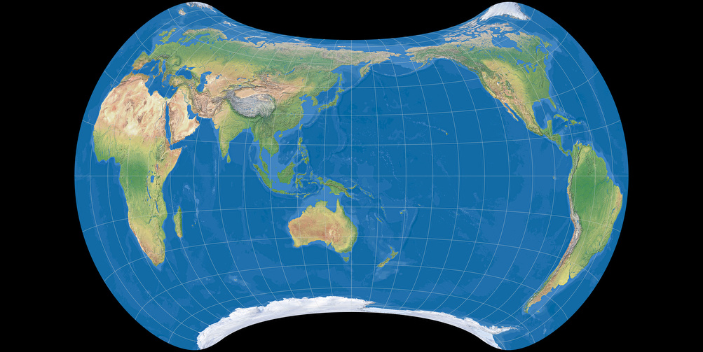 World map using Strebe 1995 projection, centered to 150° East (Ocean with layered depth tints)