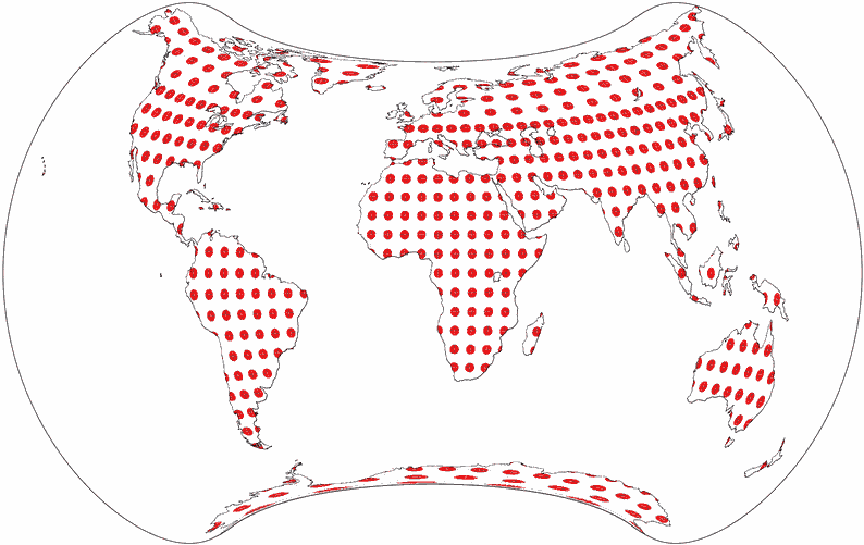 World map using Strebe 1995 projection, with Tissot's indicatrix on the land masses