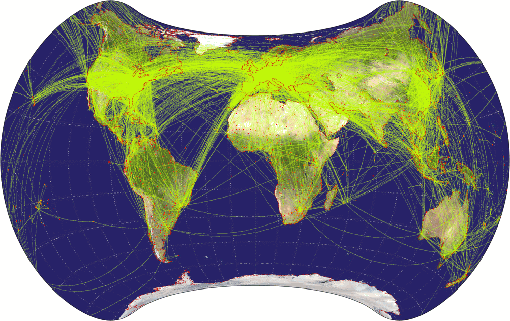 Airline traffic world map, projected to Patterson Cylindrical Projection.