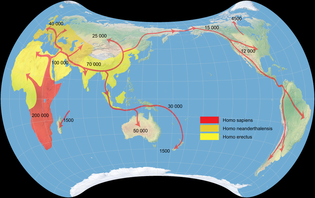 Early human migrations, projected to Strebe 1995 Projection.