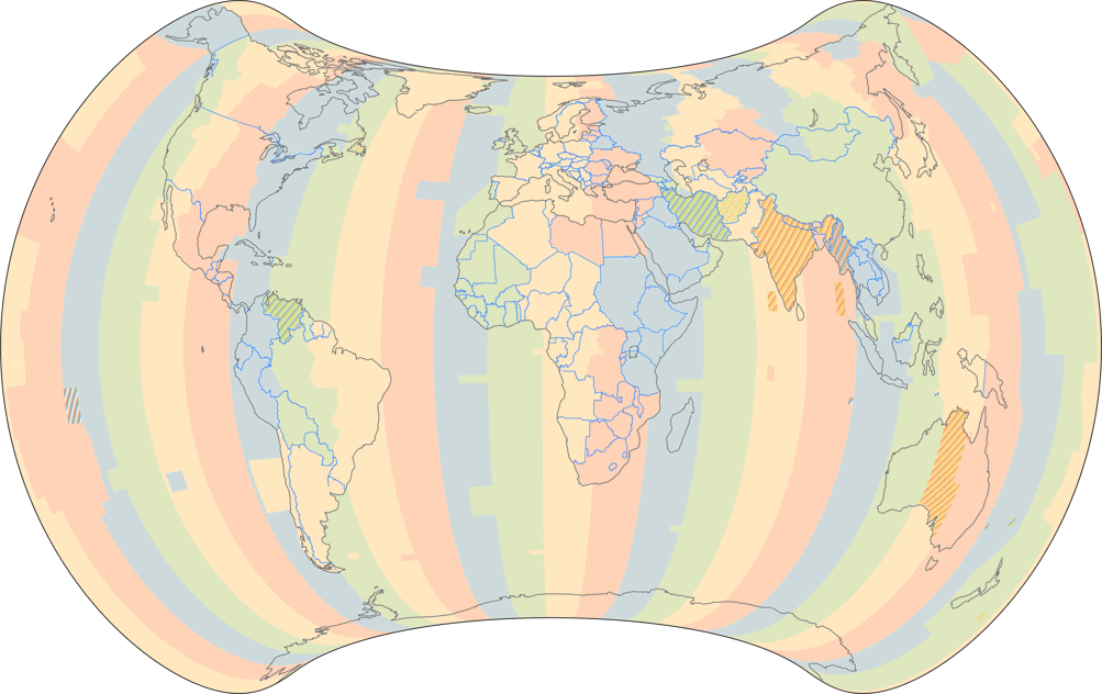 Time Zones of the World (October 2015), projected to Strebe 1995 Projection.