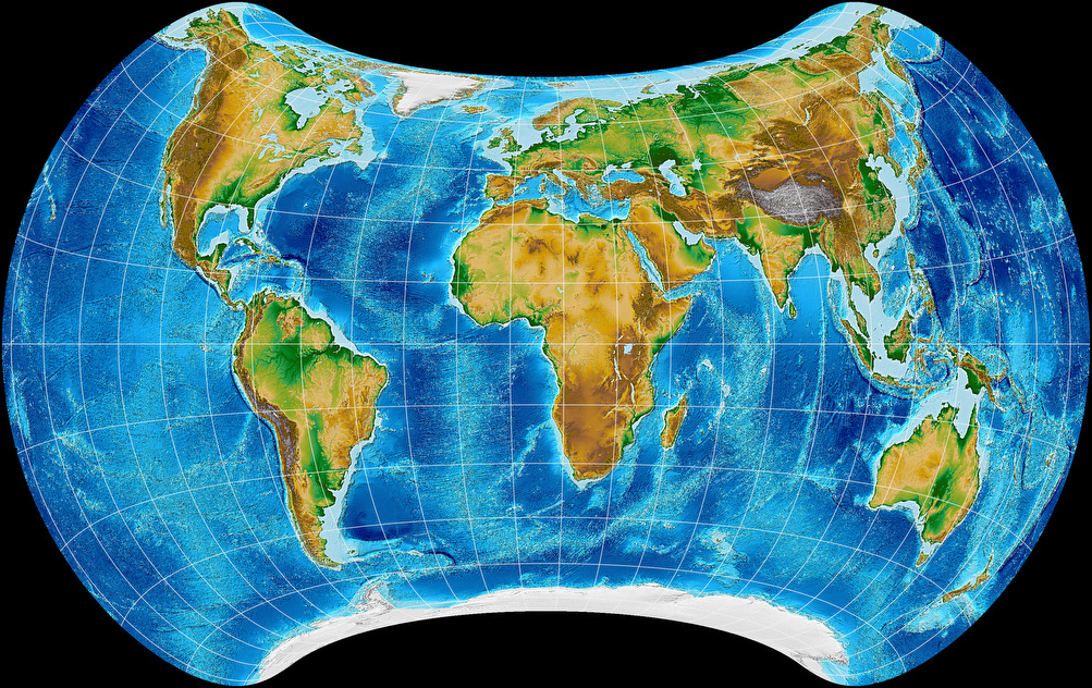 Topographic world map, projected to Strebe 1995 Projection.