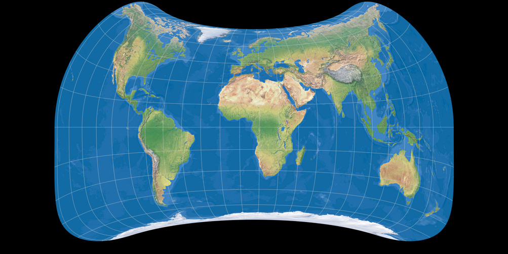 World map using Strebe asymmetric 2011 projection, centered to 11° East (Ocean with layered depth tints)