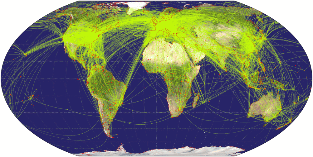 Airline traffic world map, projected to Wagner IV Projection.