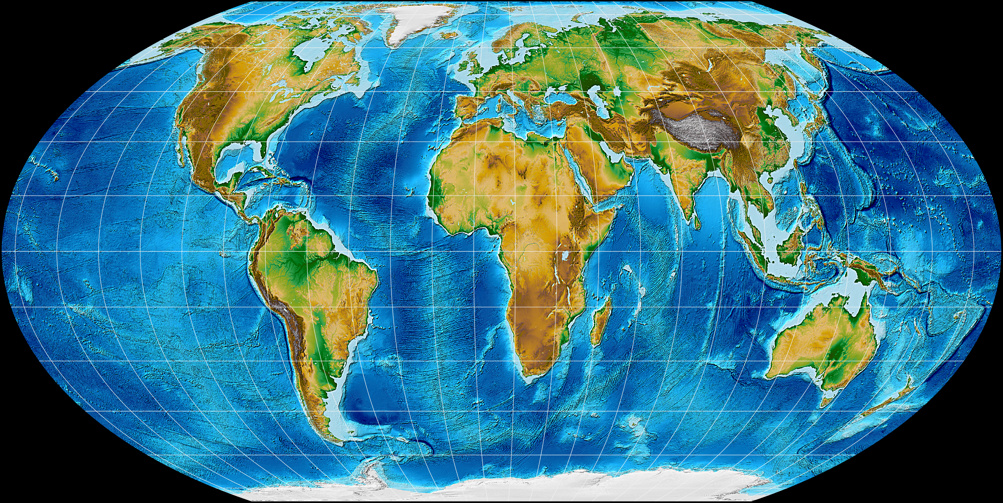 Topographic world map, projected to Wagner IV Projection.