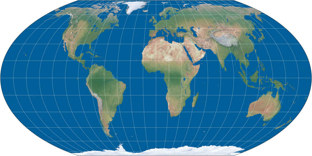 World map using Wagner IV Projection (Natural Earth III, flat ocean)