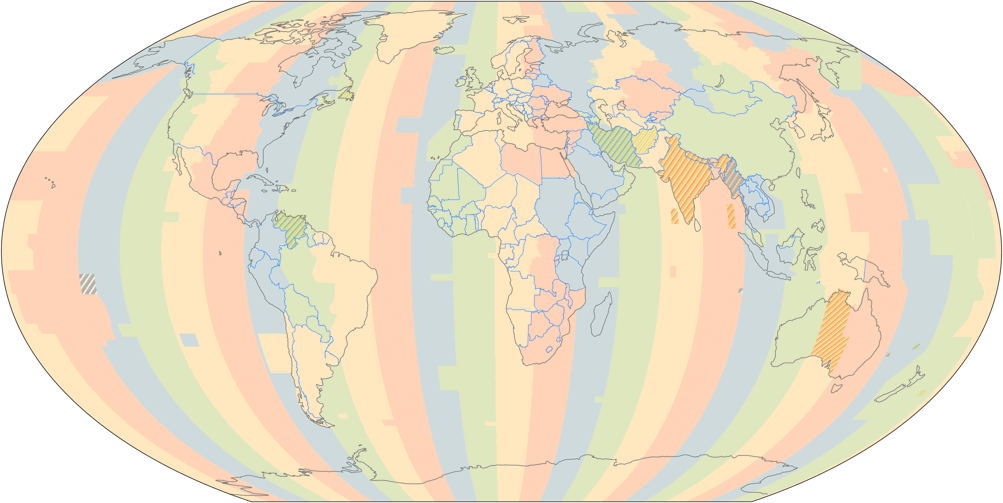 Time Zones of the World (October 2015), projected to Wagner V Projection