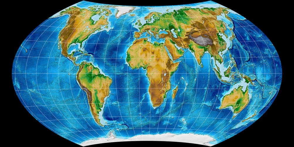 Topographic world map, projected to Wagner VII Projection.