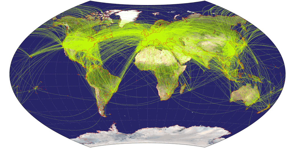Airline traffic world map, projected to Wagner IX Projection.