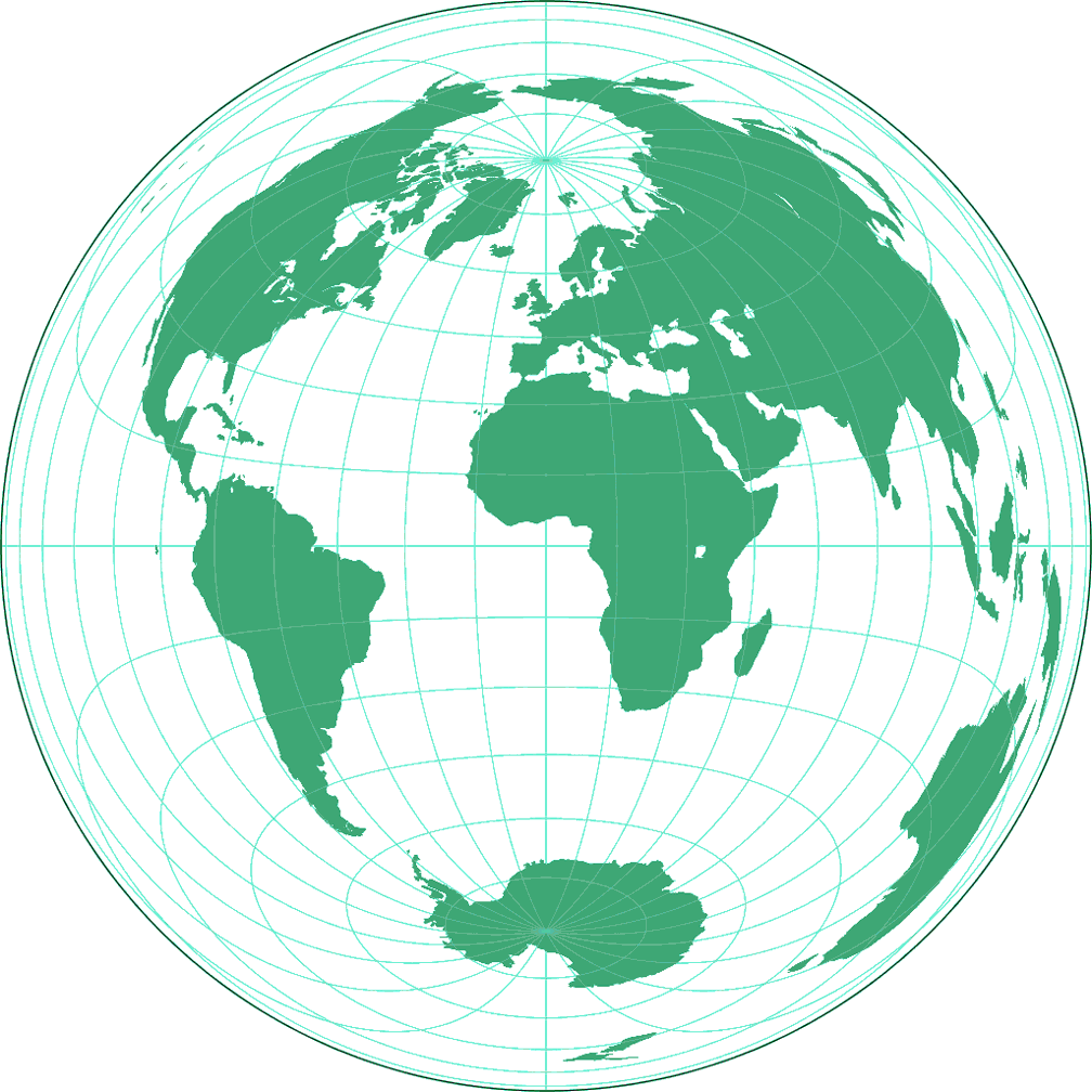 Azimuthal equal-area (equat.) Silhouette Map
