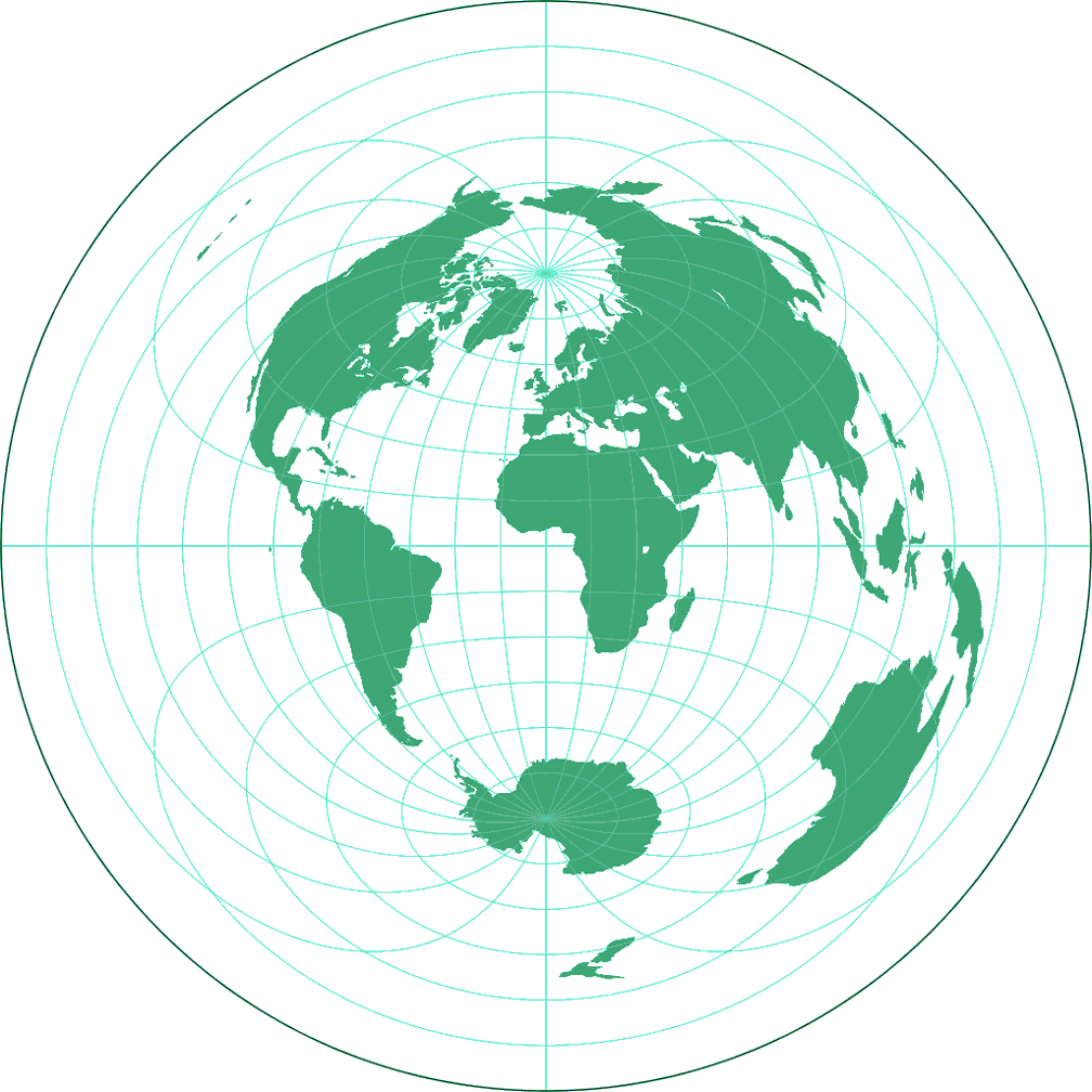 azimuthal equidistant projection Azimuthal equidistant projection (polar aspect) the azimuthal equidistant (polar aspect) projection is neither an equal-area nor a conformal projection.