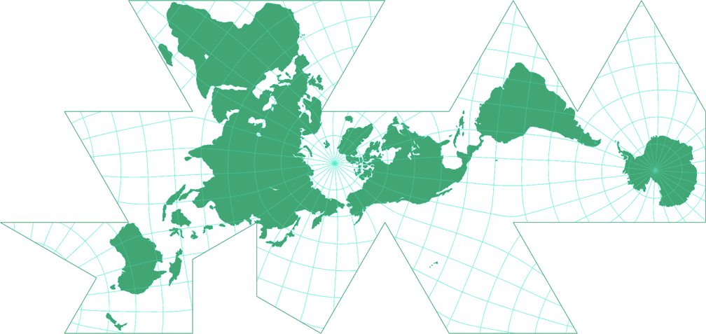 Dymaxion-like conformal projection Silhouette Map