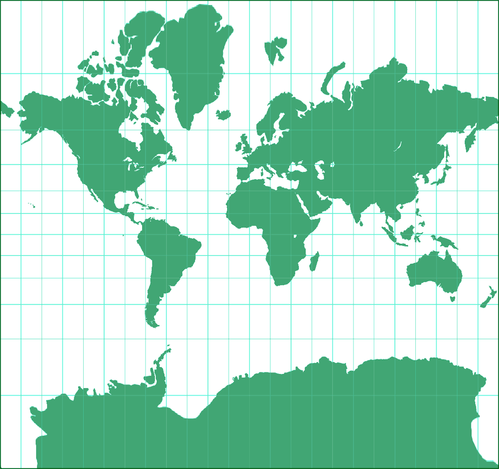 Mercator Silhouette Map