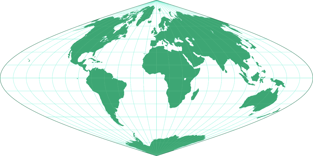 sinusoidal projection The central meridian and all parallels are at right angles, all other meridians are sinusoidal curves shape distortion texas state-wide map projection.