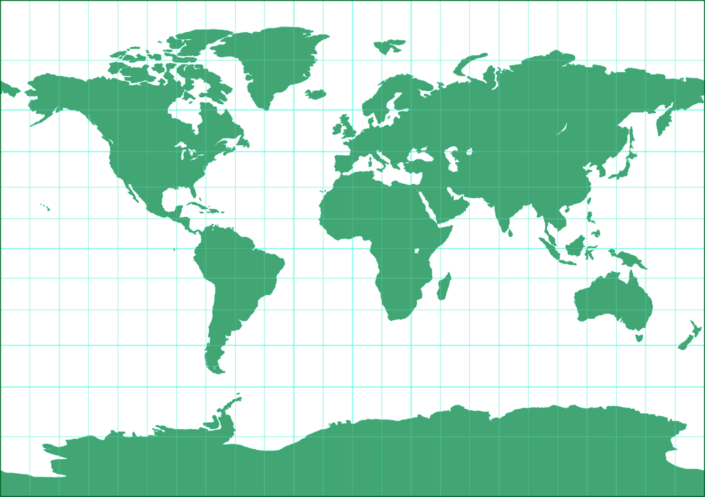 Tobler's variant 1 of Miller Cylindrical Silhouette Map