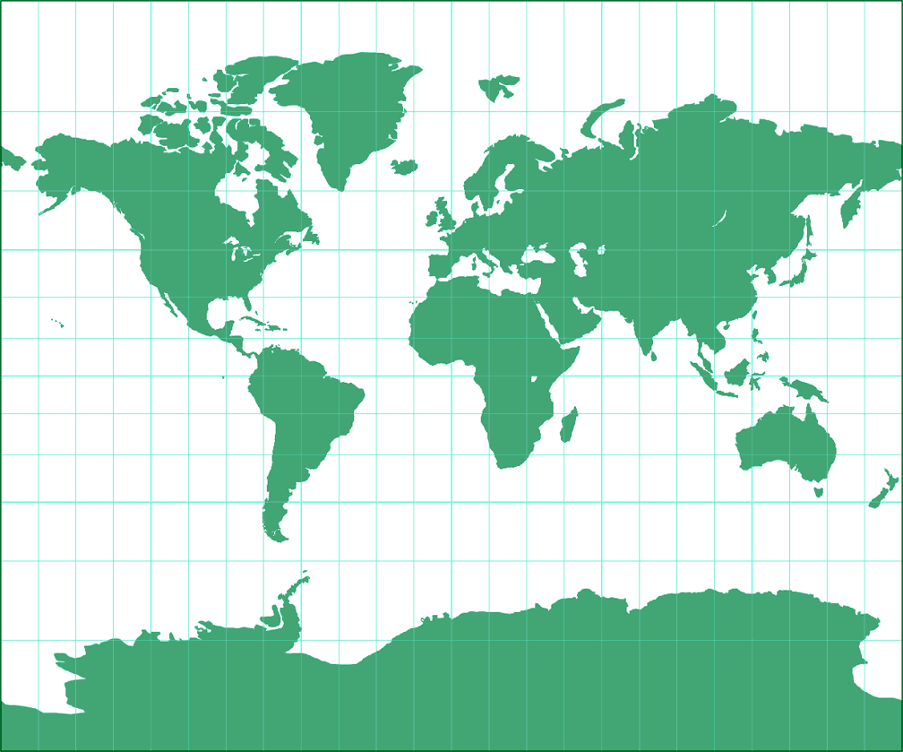 Tobler's variant 2 of Miller Cylindrical Silhouette Map