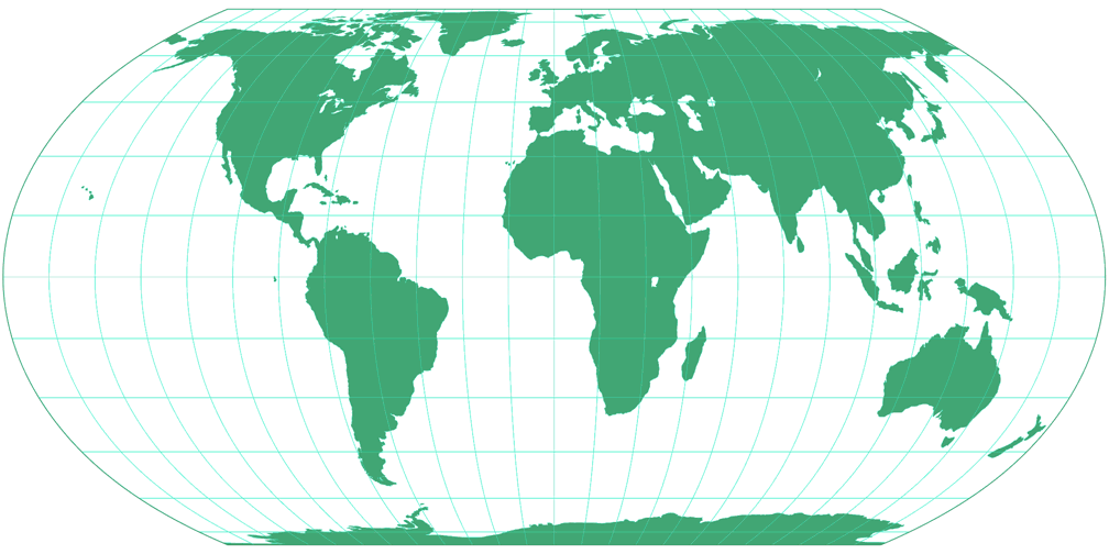 Equal Earth Silhouette Map