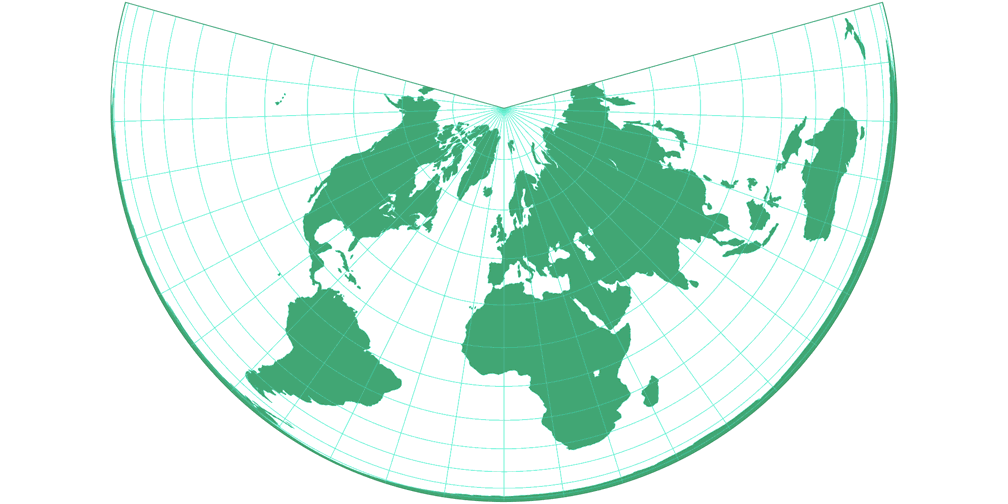 Lambert Equal-Area Conic Silhouette Map