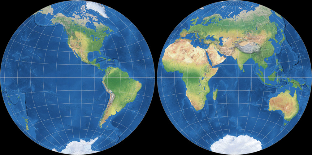 Azimuthal Equidistant Projection (Hemispheres)
