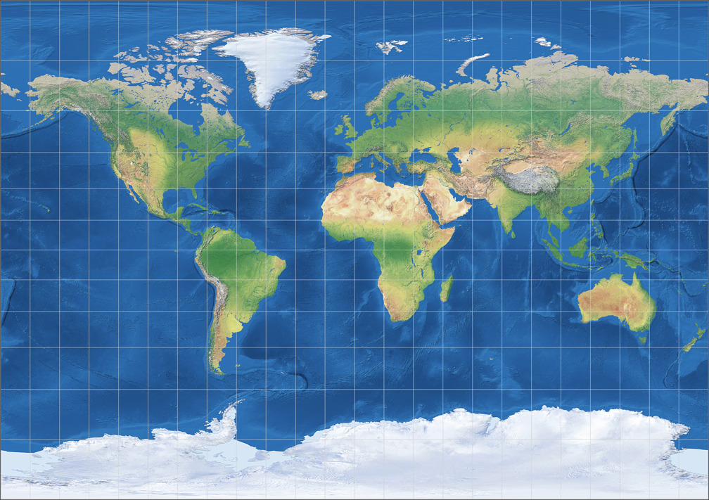 Tobler's variant 1 of Miller Cylindrical Projection