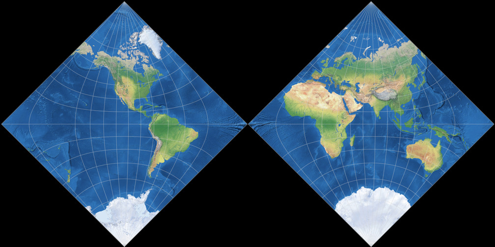 Adams Hemispheres in a Square Projection