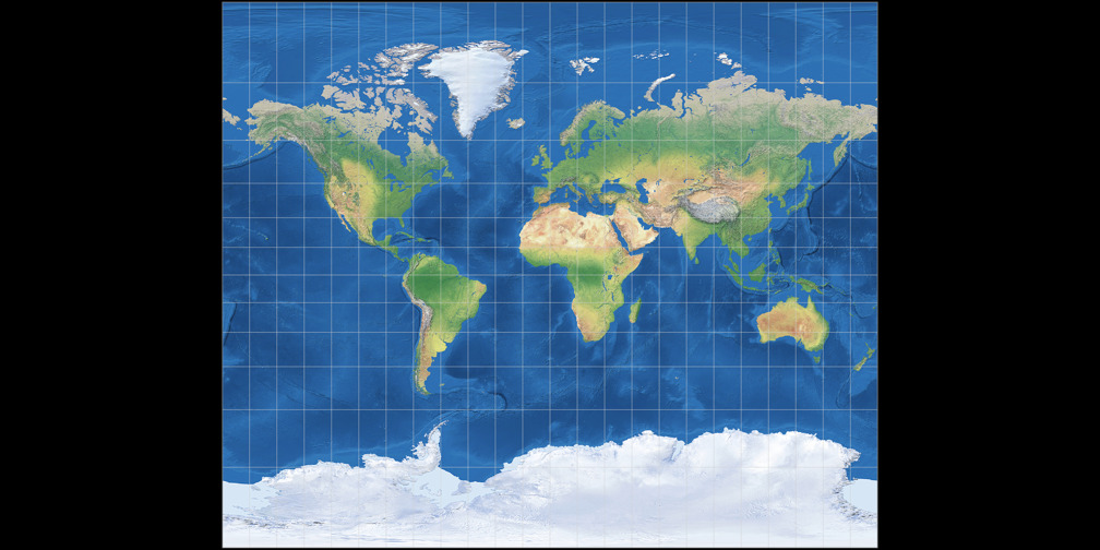 Tobler's variant 2 of Miller Cylindrical Projection