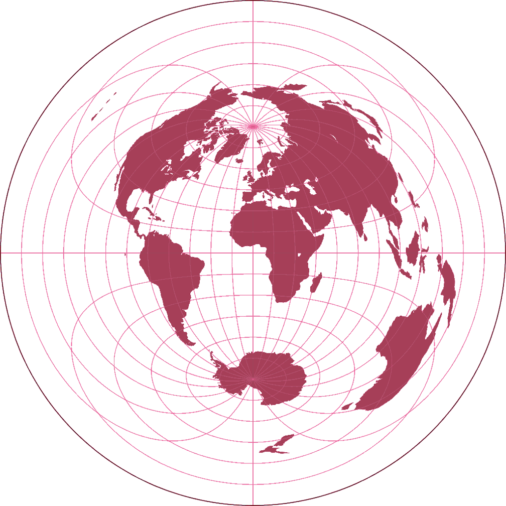 Azimuthal Equidistant Projection (equatorial aspect) Silhouette Map