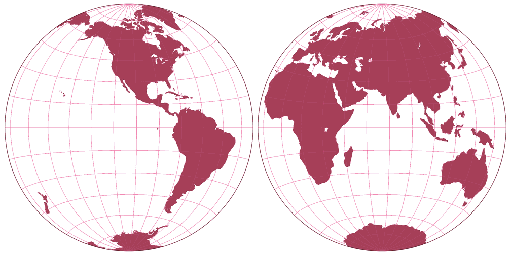 Azimuthal equal-area (Hem.) Silhouette Map