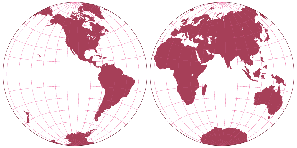 Azimuthal Equidistant Projection (Hemispheres) Silhouette Map