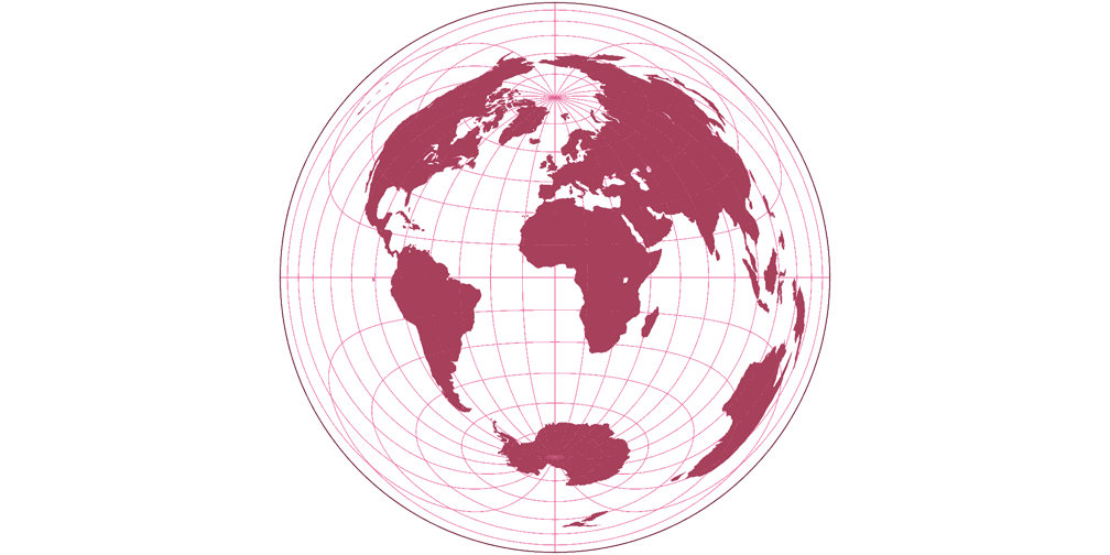 Gott-Mugnolo Azimuthal (equat.) Silhouette Map
